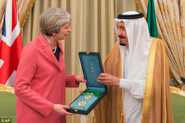 Theresa May, who visited Saudi Arabia earlier this year, has previously been accused of 'kowtowing' to the kingdom by 'suppressing' the study, which was ordered in 2015