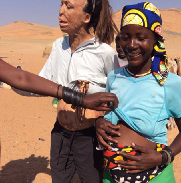 Expectant mother Turia Pitt shared touching photos of herself bonding with a pregnant tribeswoman in Namibia
