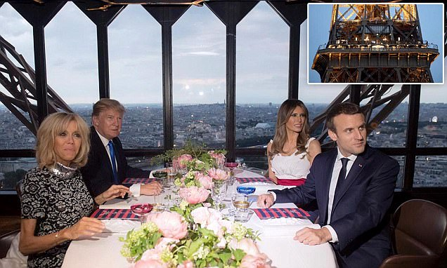 The Trumps and the Macrons dine at the Eiffel Tower