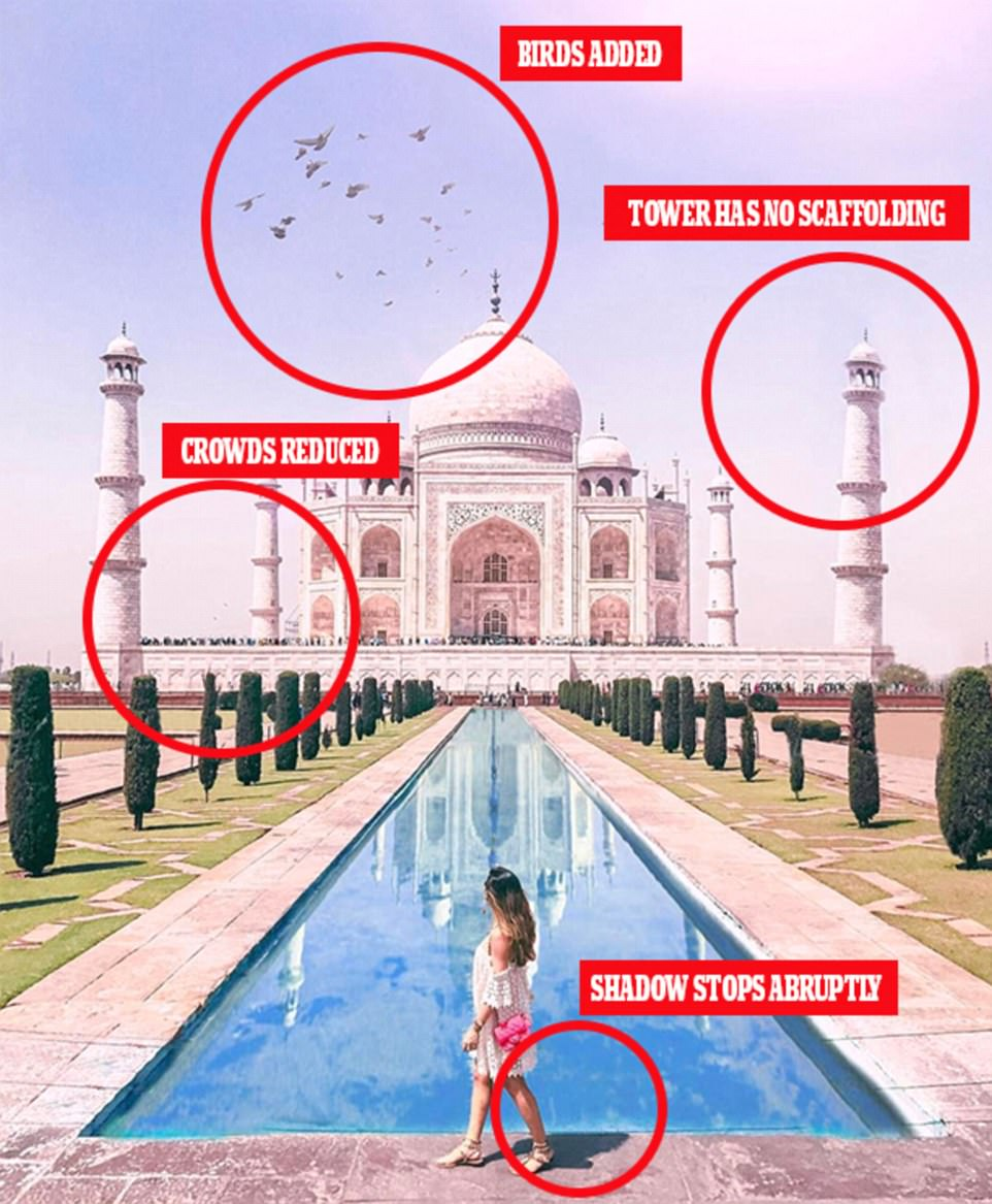 Eagle-eyed followers spotted a number of issues with the Taj Mahal image, including missing crowds and scaffolding outside the landmark