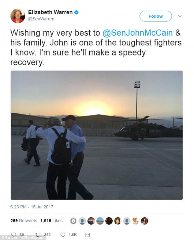 Massachusetts Senator Elizabeth Warren posted a photo of the two together at what appears to be an air base overseas. 'John is one of the toughest fighters I know,' the senator tweeted. 'I'm sure he'll make a speedy recovery'