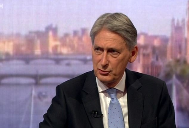 The Chancellor (pictured on the BBC's Andrew Marr show today) is said to have made the incendiary comment at the gathering of the Cabinet last week