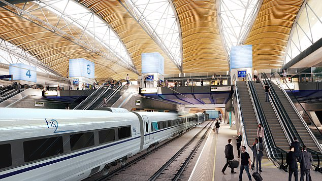 A report into whether HS2 is on budget and provides money for taxpayers was concluded last summer, but the results have been kept secret (pictured, artist's impression of HS2 terminal at London Euston)