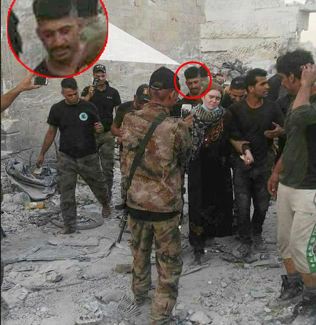 Linda was found injured and screaming as Iraqi soldiers made their way through the bombed out houses of Mosul, Iraq's war-torn second city, according to Iraqi Mohammed Shuraf, (circled) who used an alias when describing the moment they found the 16-year-old
