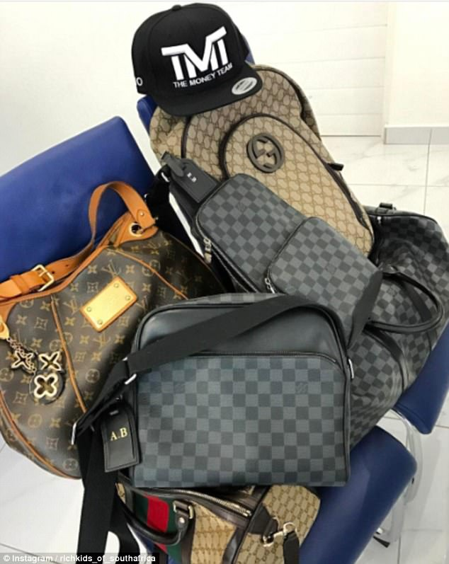 The group enjoyed sharing pictures of their designer gear, including Louis Vuitton bags