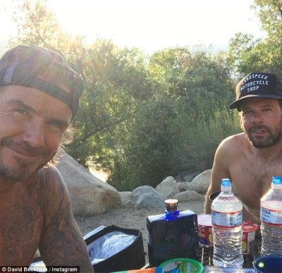 Kicking back: David and his mate have been flying solo, without the wives
