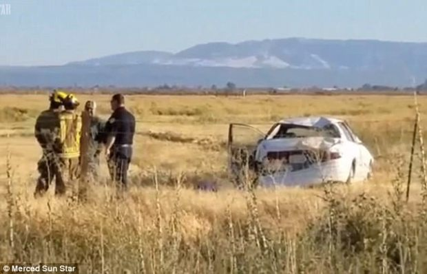 The car rolled over a barbed wire fence and onto a field inLos Banos,about 120 miles southeast of San Francisco, on Friday