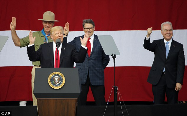 President Trump (middle left) threatened to fire his Health and Human Services Secretary Tom Price (right) while speaking at the annual Boy Scout Jamboree