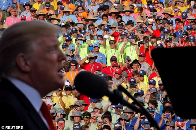 President Trump traveled to West Virginia Monday night to speak before the 2017 National Scout Jamboree in a speech he billed as being not political