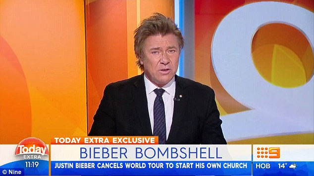 Shock: Channel Nine's Richard Wilkins has claimed the reason Bieber cancelled his tour was that he wanted to 'reconnect with his faith' and possibly start his own church
