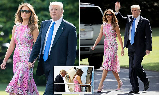Melania Trump looks pretty in pink as she heads to Ohio