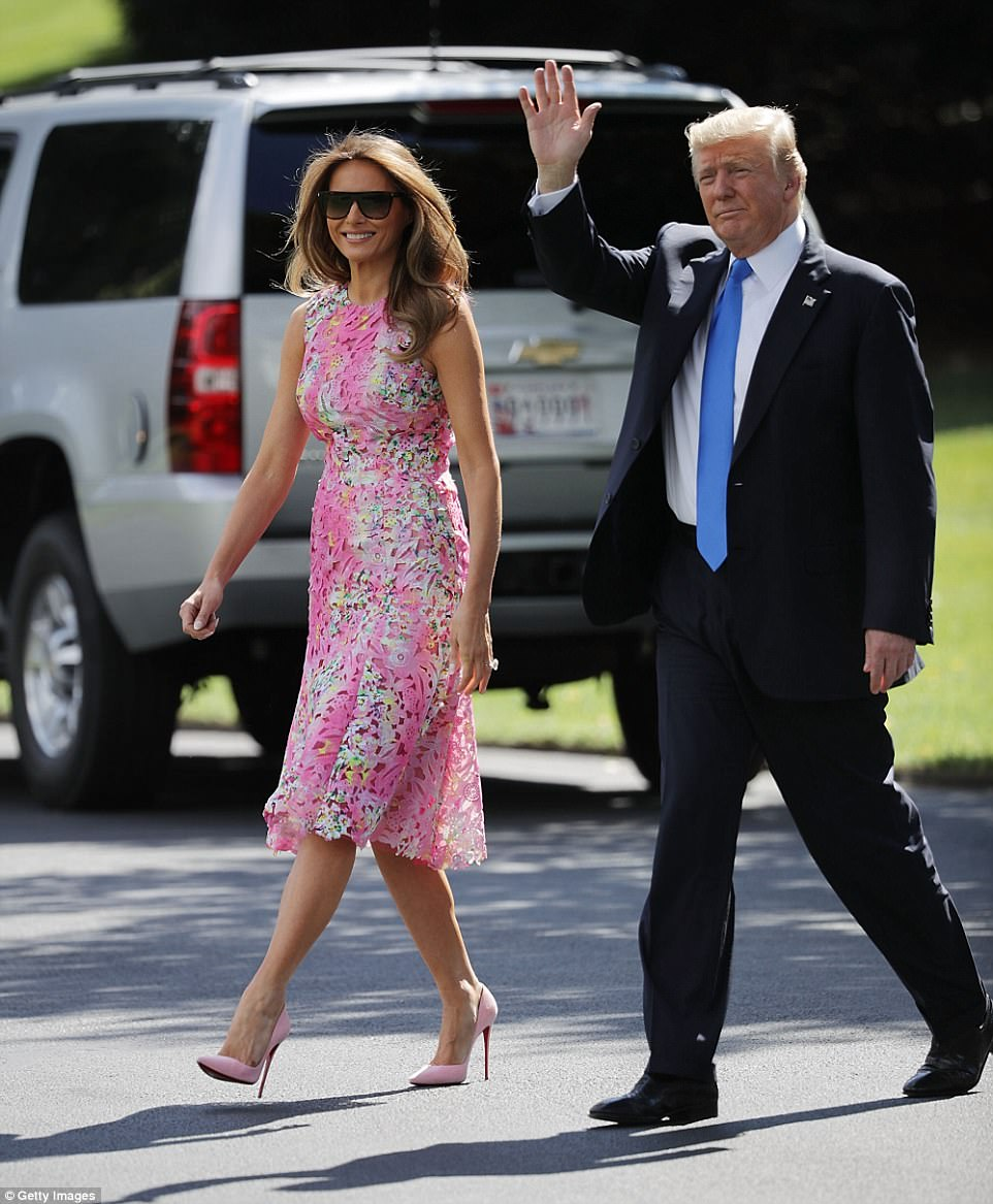Melania's donned pink Christian Louboutin pumps to match her $1,795 Monique Lhuillier dress