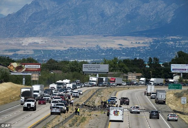 The spot where the small plane crashed on Wednesday on highway in Utah is seen in this photo