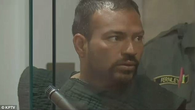 Martinez is seen at his Wednesday arraignment. Jail officials in Portland were forced to deny an ICE detainer against Martinez in December, because of Oregon's 'sanctuary state' law
