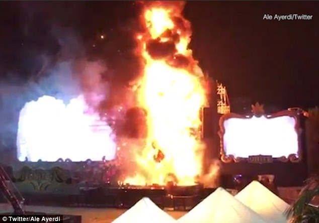 The Tomorrowland Unite Spain festival descended into chaos after a blaze started by a suspected fireworks display set fire to the main stage