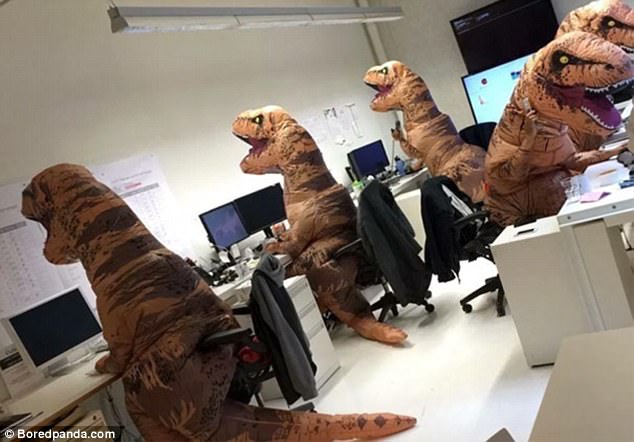 A paleontology department celebrated Halloween in a very appropriate way