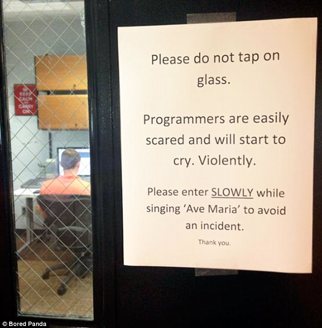 When it comes to greeting programmers they should be approached with caution