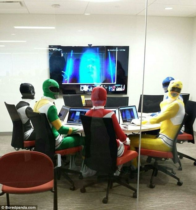 To liven up an office meeting this department decided to dress as power rangers