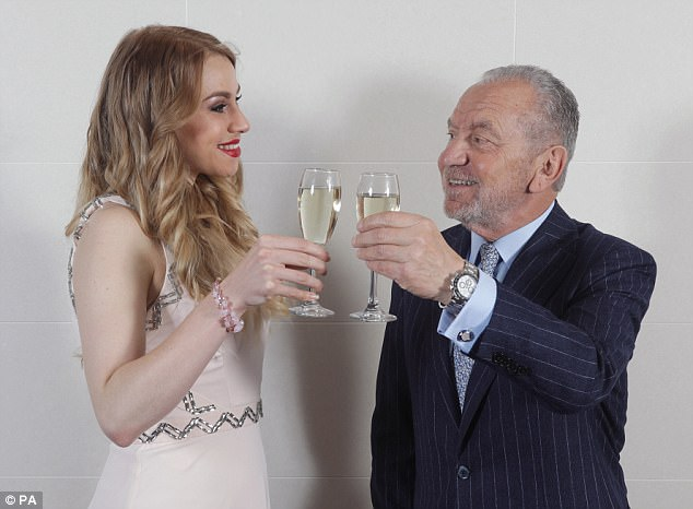 Alana won The Apprentice last year, winning a £250,000 investment and 50/50 business partnership with Lord Sugar (right)