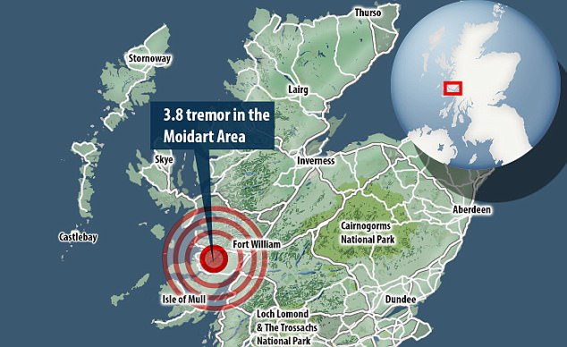 The British Geological Survey (BGS) recorded the magnitude 3.8 tremor in the Moidart area just before 3.45pm