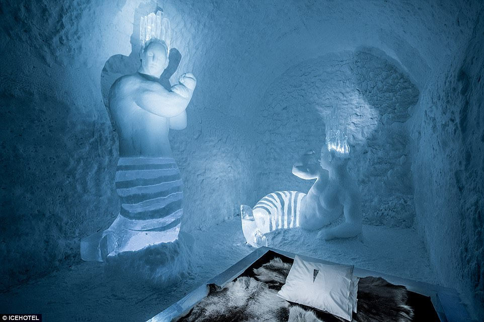 He slept in a room with mermaid ice sculptures (pictured), and had a chilly, thrilling but somewhat restless night