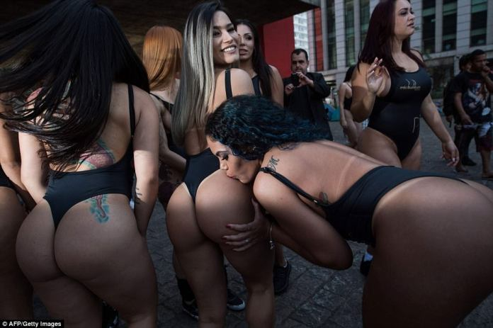 Models take part in the promotion of the Miss Bumbum beauty pageant ahead of the fiercely fought competition