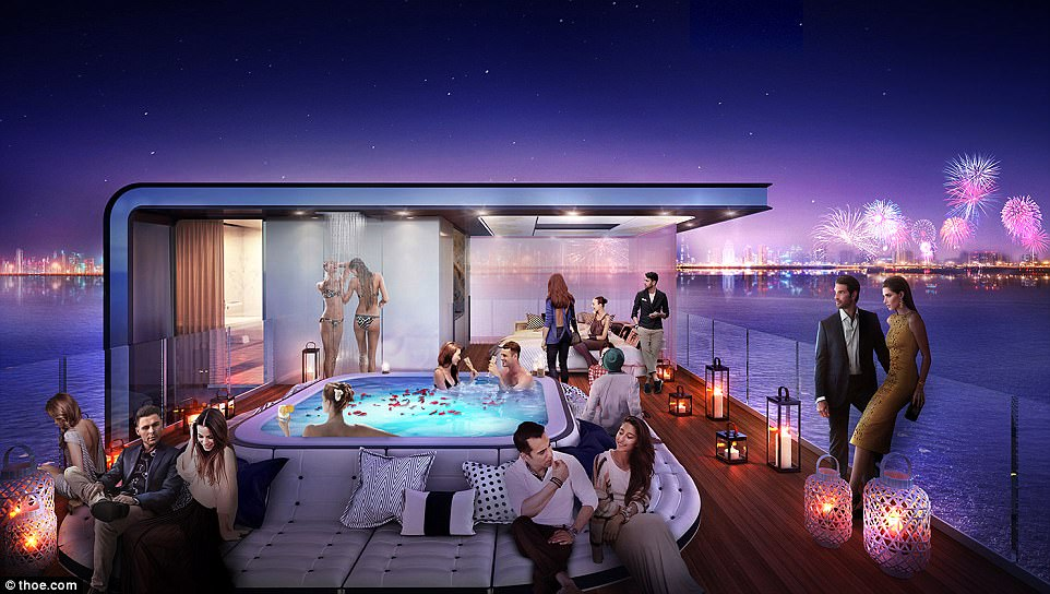 Party time: The World archipelago is located 2.5miles off the Dubai coast, so owners will have stunning views of the bay