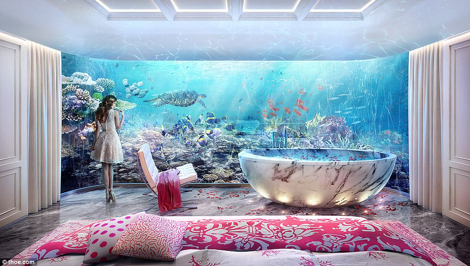 Underwater views: The Floating Seahorse Signature Edition villas have three levels - one submerged in water