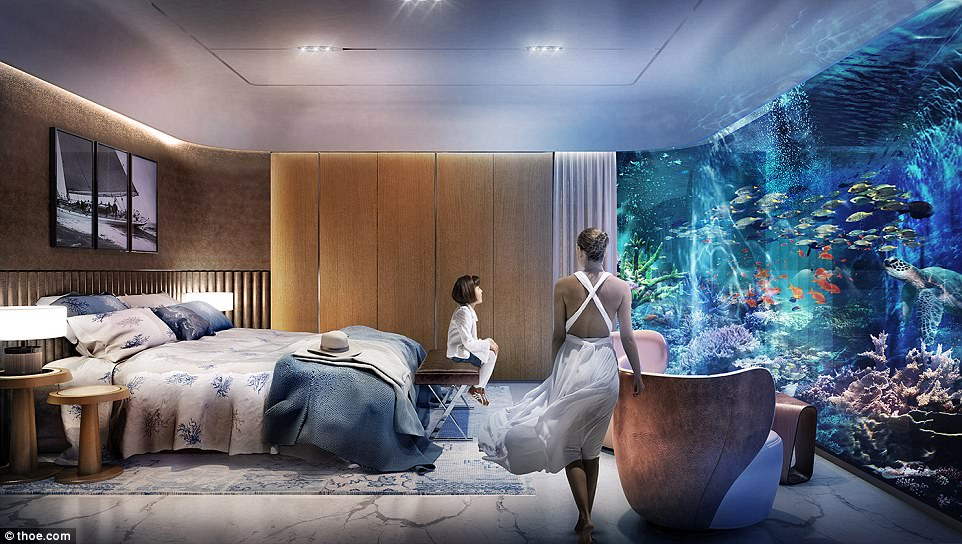 Putrting the kids to bed: The living areas in the underwater level alone will span 861 sq ft