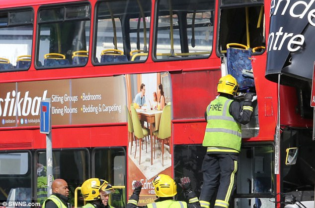 The driver of the bus, which travels from Tooting Station to Waterloo, was taken to hospital