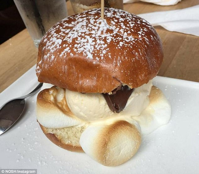 Sweet! It's made with a brioche bun and no meat. Instead, there's ice cream and Nutella