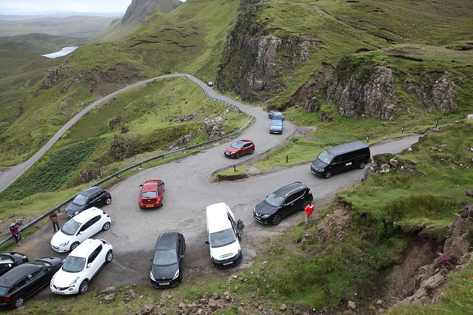 The Quiraing on the Isle of Skye where tourists are simply parking in the passing places as there are not enough parking spaces to accommodate the escalating number of tourists