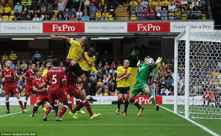 Stefano Okaka opened the scoring at Vicarage Road after powering a header past goalkeeper Simon Mignolet