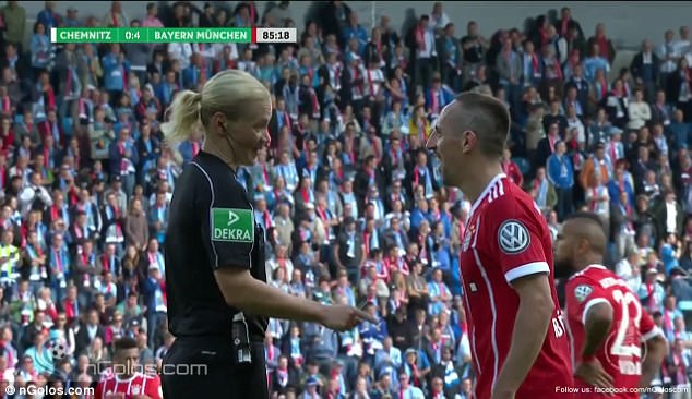 Bibiana Steinhaus took the joke well as she pretended to reprimand the Frenchman