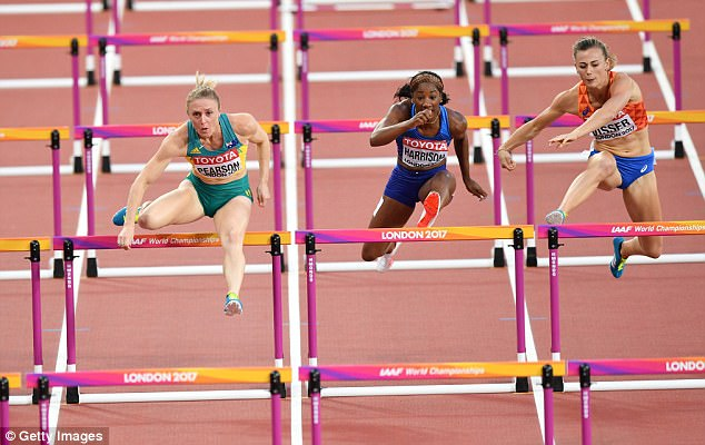 (L to R) Sally Pearson of Australia, Kendra Harrison of the USA and Nadine Visser of the Netherlands compete in the Women's 100 metres hurdles
