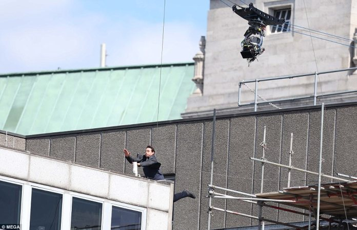 Impact: In a video taken on Sunday, the star can be seen crashing into the building as he fails to make his mark on to the roof