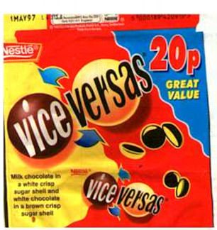 Men and women are whetting their appetites by sharing their favourite vintage lunchbox snacks in nostalgic snaps online - including milk and white chocolate Vice Versas