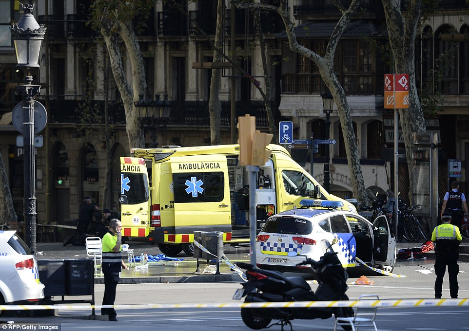 Pictured: An ambulance attending the scene in Las Ramblas