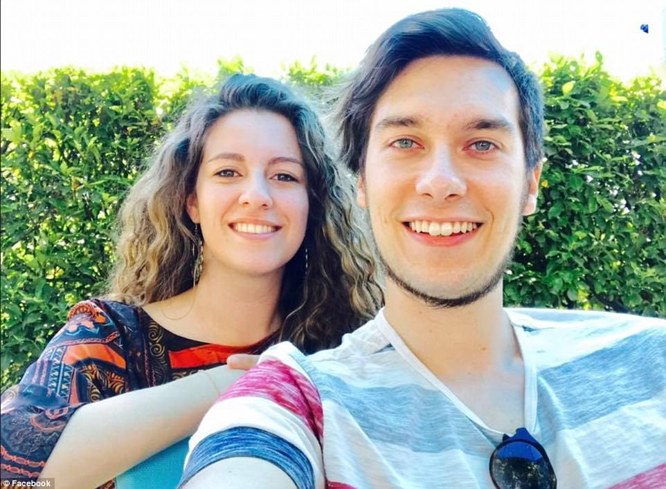 MissScomazzon (pictured with boyfriend Luca before the attack) was left with a broken collarbone after being hit, Italian media reported on Friday