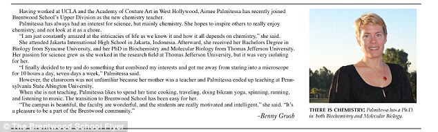 'It all depends on chemistry': News of Palmitessa's employment was announced in campus publication, Blue Toad in 2010