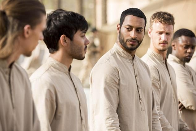 Ridiculously good-looking: Sam Otto as Jalal, left, and Ryan McKen as Ziyaad, centre. Their characters are portrayed as sensitive and soft-spoken