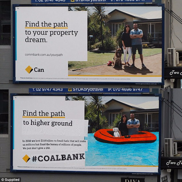 One replaced a family in front of their house with the slogan 'find the path to your property dream' with a picture of them in an inflatable raft with 'find your path to higher ground'