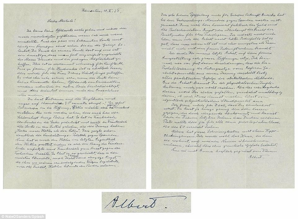 Une lettre écrite par le physicien allemand Albert Einstein écrit des jours après l'accord de Munich de 1938 est en hausse aux enchères à Los Angeles et devrait débourser 25 000 $. Dans la lettre, Einstein critique la direction du premier ministre britannique Neville Chamberlain, en particulier sur sa politique d'apaisement vis-à-vis de l'invasion d'Adolf Hitler dans certaines parties de la Tchécoslovaquie. Einstein, qui avait déménagé aux États-Unis par ce point, a également écrit qu'il n'avait «aucun espoir pour l'Europe» face à l'agression d'Hitler