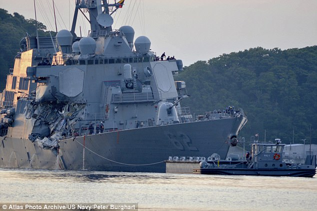 Seven sailors died when the USS Fitzgerald (pictured) and a container ship collided in waters off Japan in June