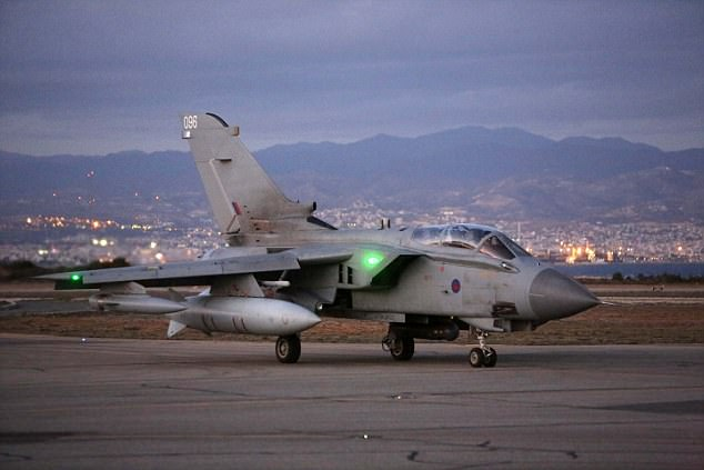 Royal Air Force raids have smashed 30 ISIS targets in a fortnight as the international coalition forces the terrorists to retreat (file picture of an RAF Tornado at Akrotiri in Cyprus)