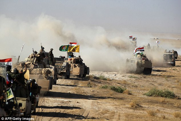 Iraqi forces move in on Tal Afar today as they continue their assault on Isis jiadis in the country