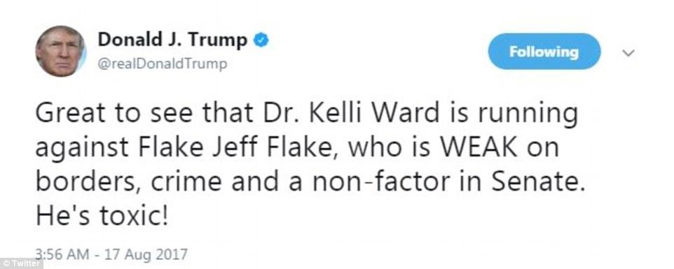 Trump called Flake 'toxic' and said he's 'WEAK' on borders and crime