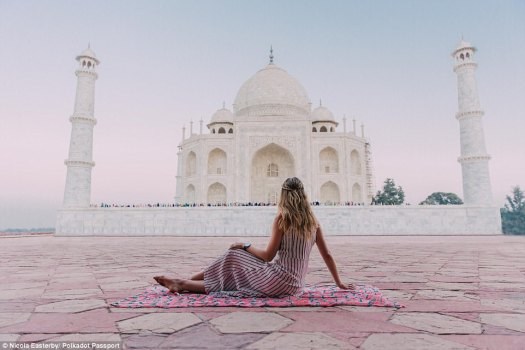 The now 23-year-old (pictured in India) has turned her spontaneous travels into a lucrative career by blogging