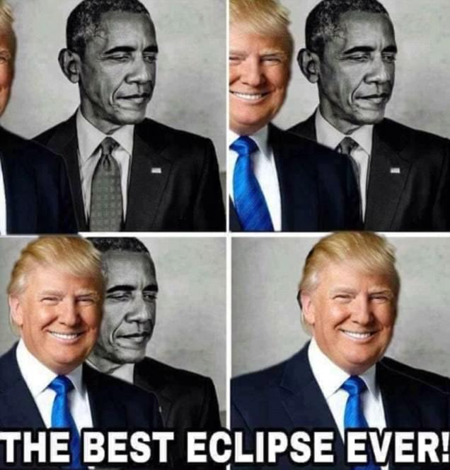 Trump retweets 'eclipse' image of him blocking out Obama