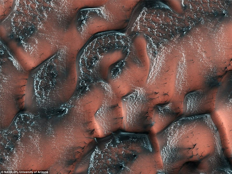 It might sound familiar to the seasonal changes that take place here on Earth – but, in Mars' northern hemisphere, the snow and ice speckling the landscape is made not of water, but carbon dioxide. And, when this 'dry ice' is exposed to the sun, it creates remarkable patterns across the surface